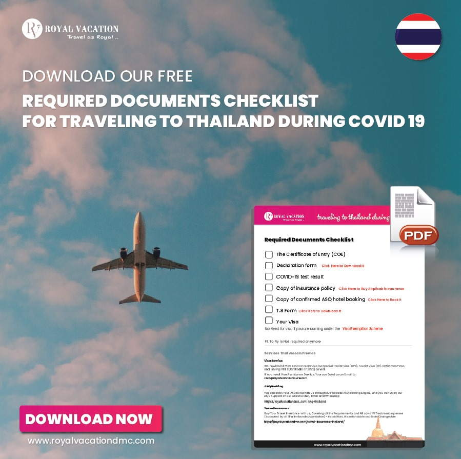 Download Our Documents Checklist for Traveling to Thailand during covid 19